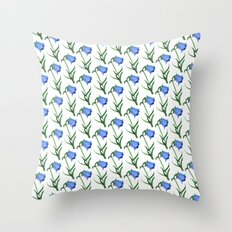 Watercolor hand-drawn flowers pattern  Throw Pillow