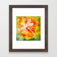 Dragonfly In Embroidered… Framed Art Print