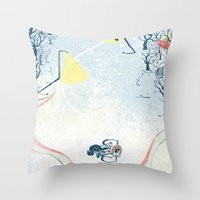 Winter Cycling Throw Pillow