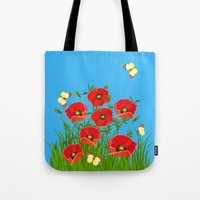 Poppies and butterflies Tote Bag
