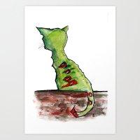 Reflective Zombie Cat Art Print