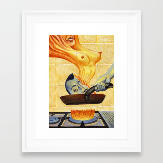A Sizzling Thought Framed Art Print