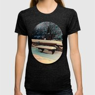 Snow Covered Bench Womens Fitted Tee Tri-Black SMALL