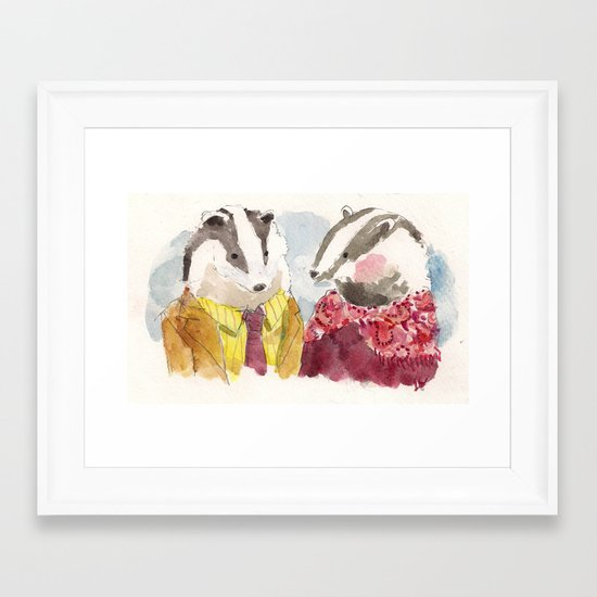 Badger Couple Framed Art Print