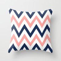 Coral & Navy Chevron Throw Pillow