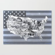 Usa Map Black And White Canvas Print