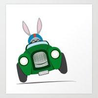 Bunny Racer Art Print
