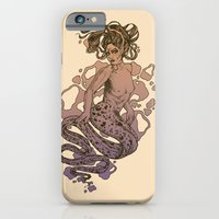 iPhone Cases featuring Nixie Orange and Purple by Corinne Elyse