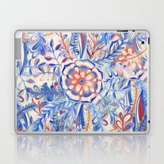 Boho Flower Burst in Red and Blue Laptop & iPad Skin