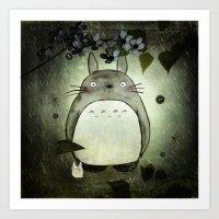 Totoro In The Rain Art Print