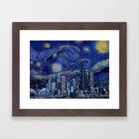 Seattle Starry Night Framed Art Print