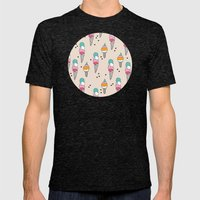 Cute hot summer ice cream cone - doodle illustration pattern print Mens Fitted Tee Tri-Black SMALL