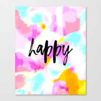 Happy - Bright neon pink abstract typography Canvas Print