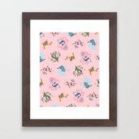 Sailor Kitties Pink Pattern Framed Art Print