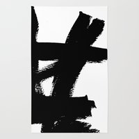 Abstract black & white 2 Rug