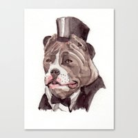 Canvas Print featuring pitbull by Becca Kallem