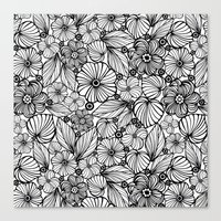 Candy flowers in black Canvas Print