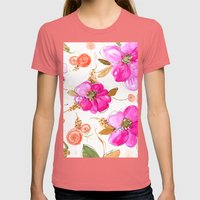All-Pink Double Spring Floral Womens Fitted Tee Pomegranate SMALL