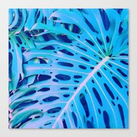 Monstera Blue Canvas Print