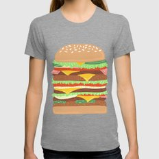 BURGER Womens Fitted Tee Tri-Grey SMALL