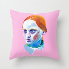 Redhead Painting Throw Pillow