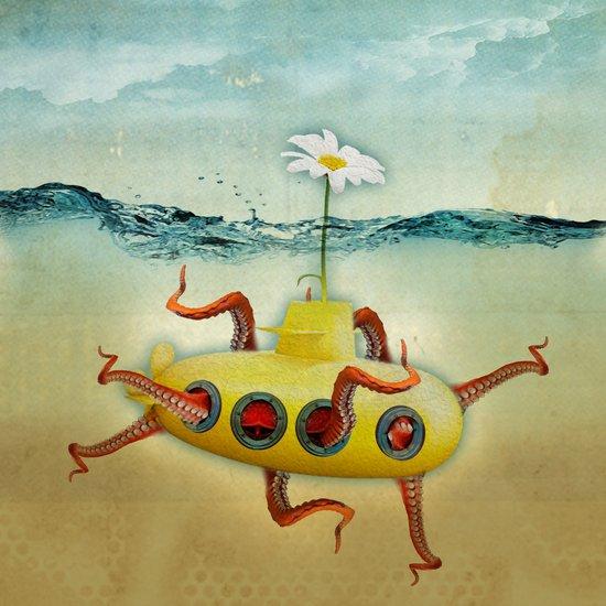 yellow submarine in an octapuses garden Art Print