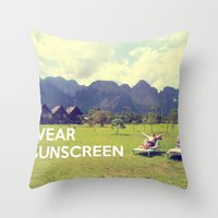 Wear Sunscreen Throw Pillow