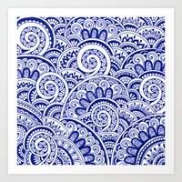 Midnight Blue Maze Art Print