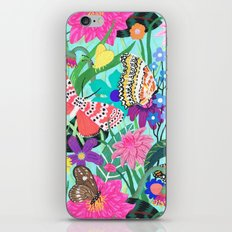 Butterflies and Moths Pattern - Blue iPhone & iPod Skin