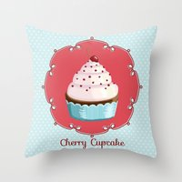 Cherry Cupcake Throw Pillow