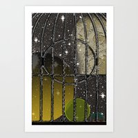 Owl In A Birdcage Art Print