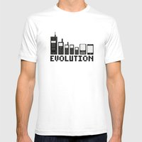 Cell Phone Evolution Mens Fitted Tee White SMALL