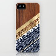 Navy & Gold Tribal On Wo… iPhone (5, 5s) Slim Case