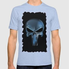 The Punisher Scary Face Mens Fitted Tee Tri-Blue SMALL