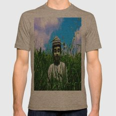 Buddha Looks Through Grass Mens Fitted Tee Tri-Coffee SMALL
