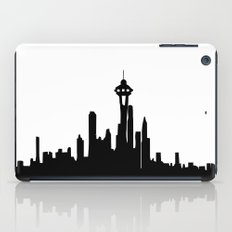 Seattle City Skyline in Black and white iPad Case