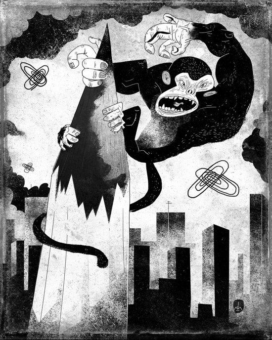 King Kong Sized Writer's Block Art Print