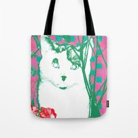 flower and cat Tote Bag