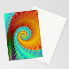 Toothed Spiral in Turquoise and Gold Stationery Cards