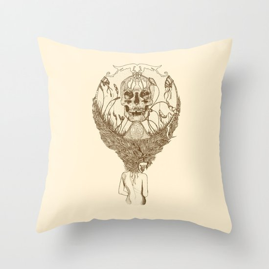 lady death // brown Throw Pillow