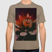 Red Water Lily Mens Fitted Tee Tri-Coffee SMALL