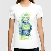 Marilyn Portrait Watercolor Painting Womens Fitted Tee White SMALL