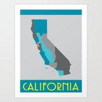 I Love California - California State Map Print Art Print