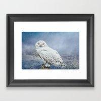 Snowy Owl In Mist Framed Art Print