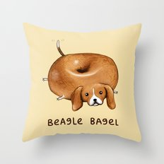 Beagle Bagel Throw Pillow
