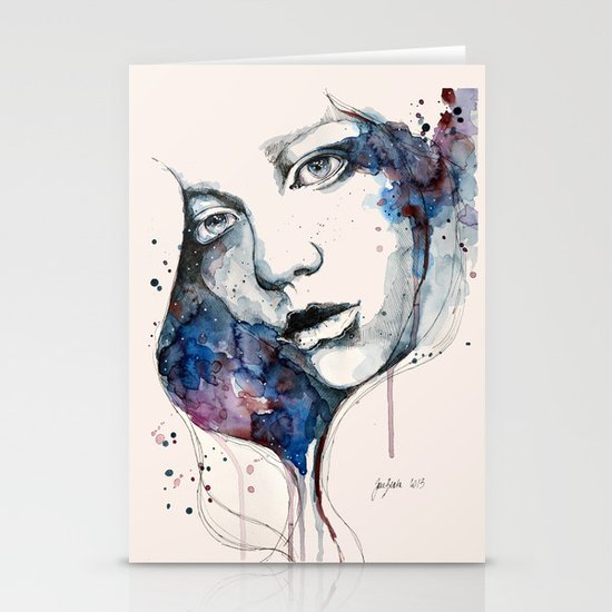 Window, watercolor & ink painting Stationery Card