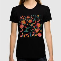 Buds And Flowers Womens Fitted Tee Black SMALL