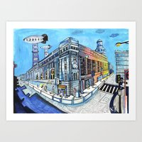Palace On Blue Street Art Print