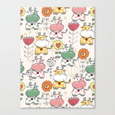 Cartoon Cow & Flowers Canvas Print