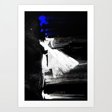 Blown Away ( Watercolor Abstract artwork, Feminine, Elegant, Black, Blue ) Art Print